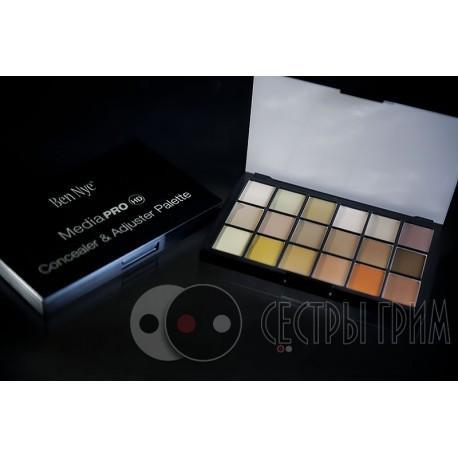 Палитра тонов/корректоров Concealer & Adjuster Palette HD Ben Nye 18 цветов