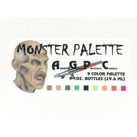 Палитра 9 цв. акриловых красок для аэрографа AGPC Monster Palette